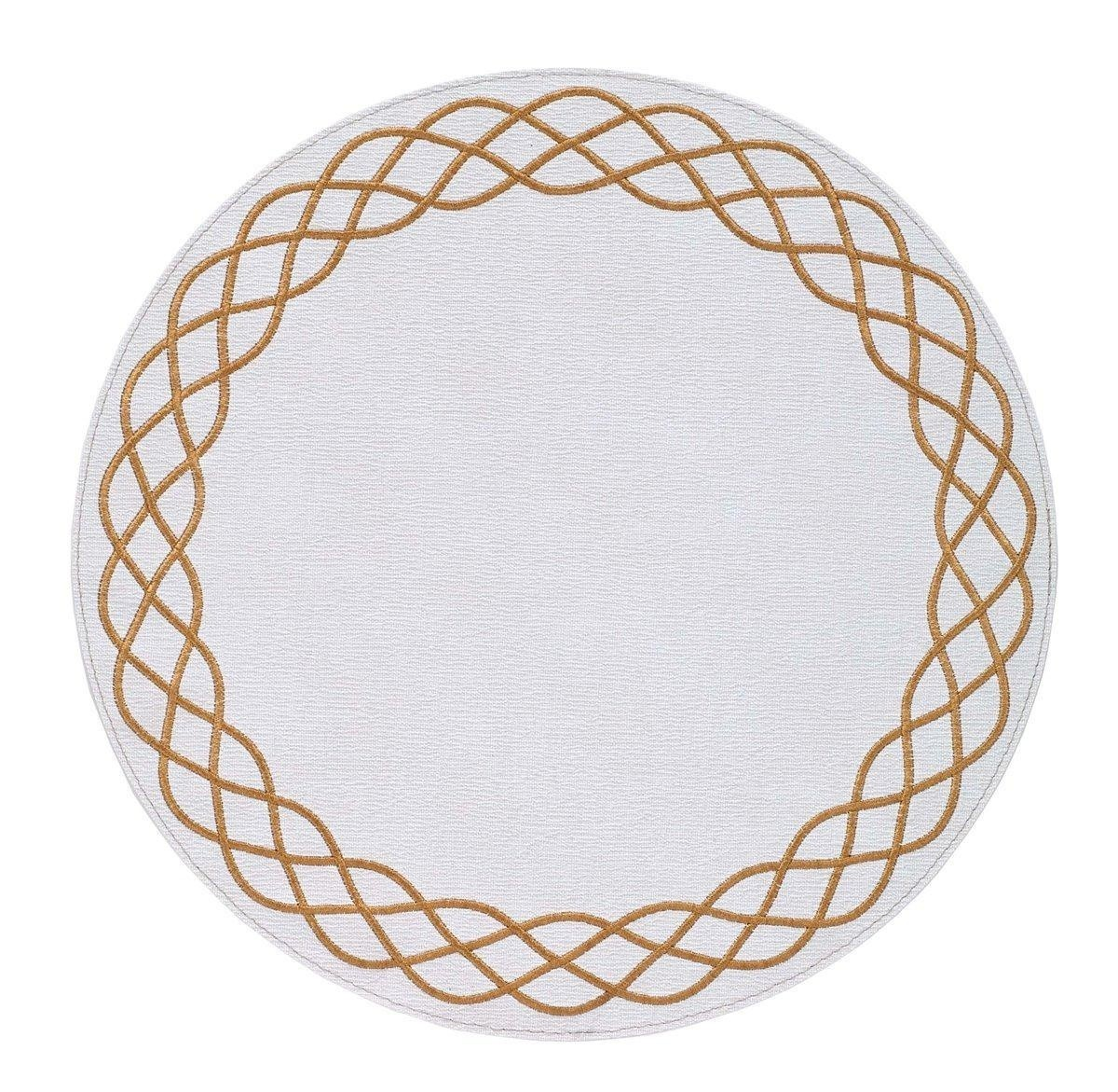 Bodrum Round Ivory And Gold Helix Placemats Set 6