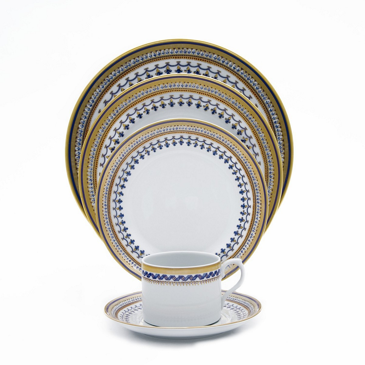 Mottahedeh Chinoise Blue 5 Piece Place Setting