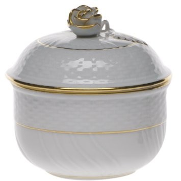 Herend Golden Edge Covered Sugar Bowl with Rose