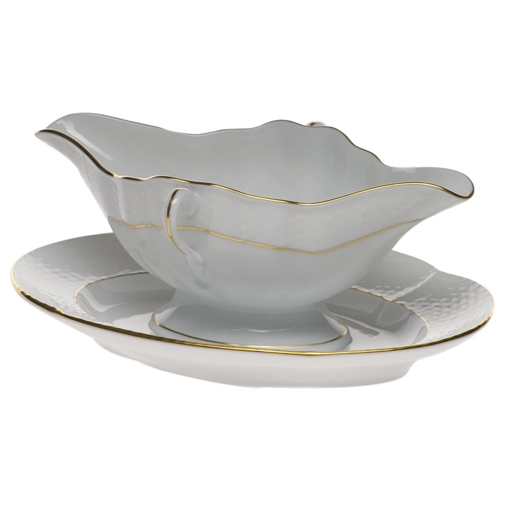 Herend Golden Edge Gravy Boat with Stand
