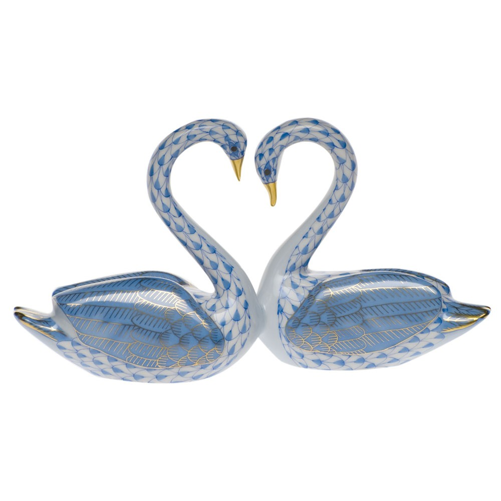 Herend Kissing Swans Figurine, Blue