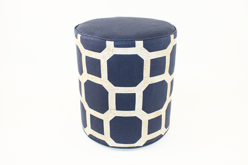 Lloyd Ottoman, Navy with Cream Leather