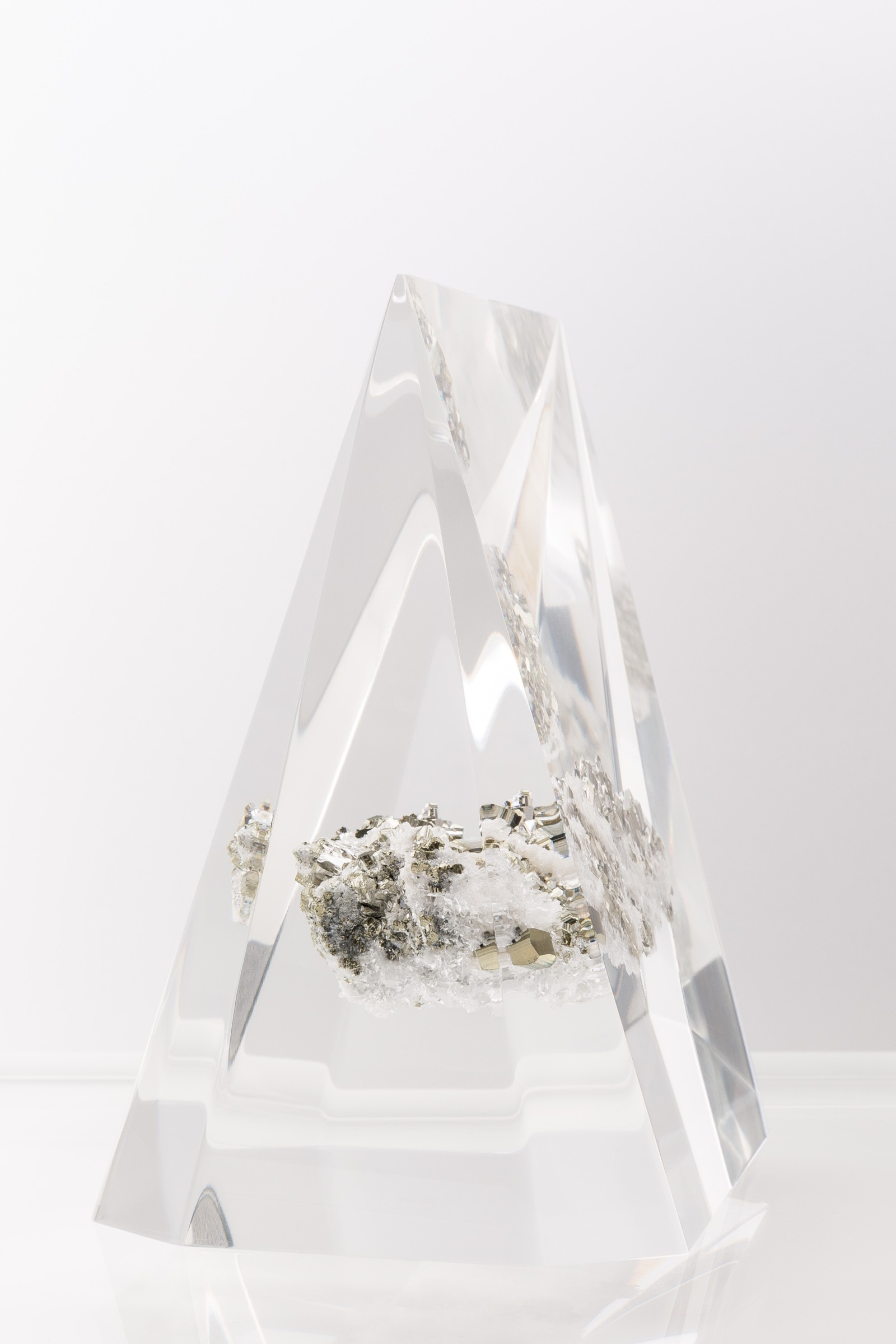 Sawyer Collection Embedded Quartz and Pyrite Pyramid