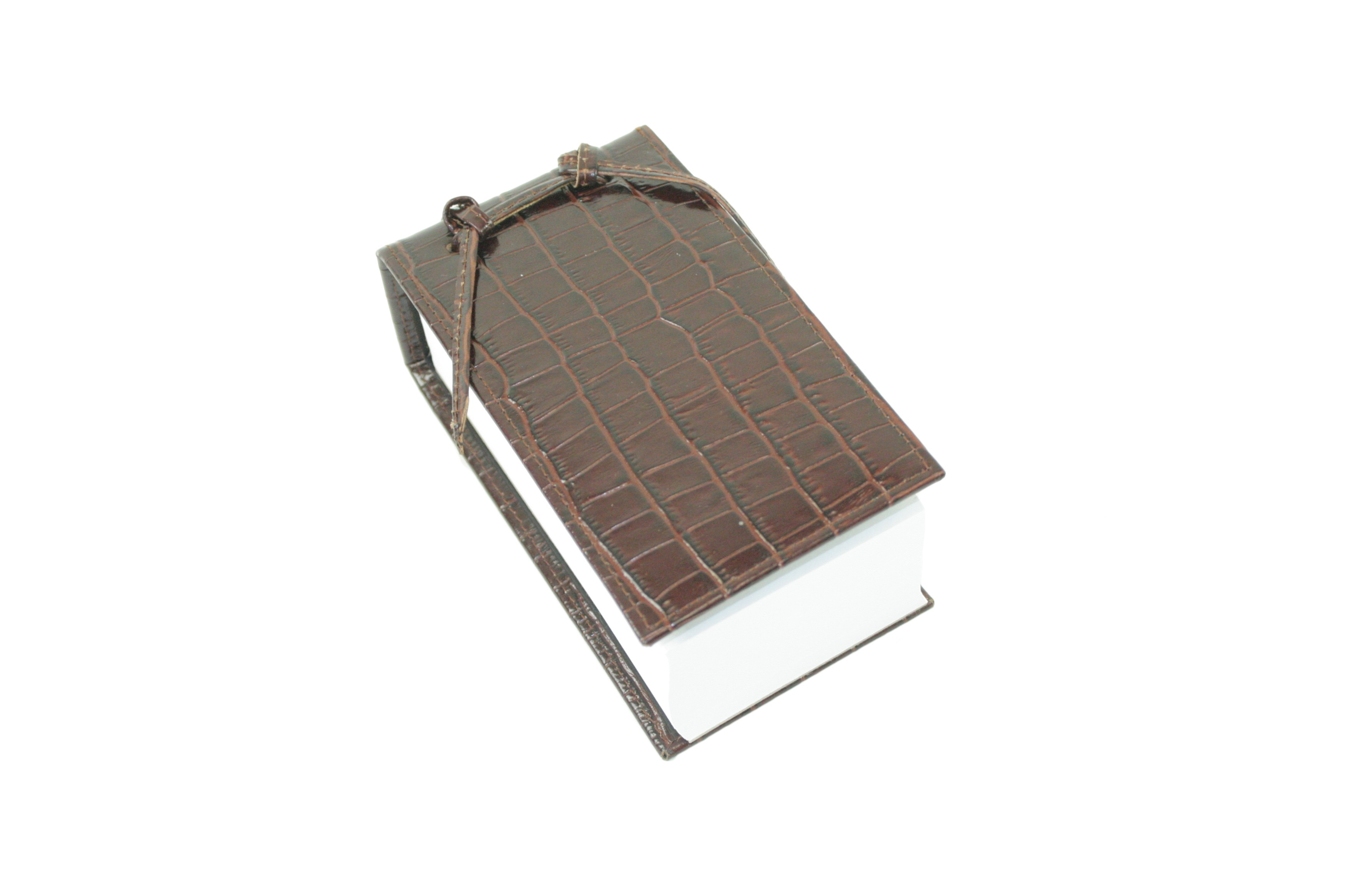 Brown Leather Croc Scratch Pad