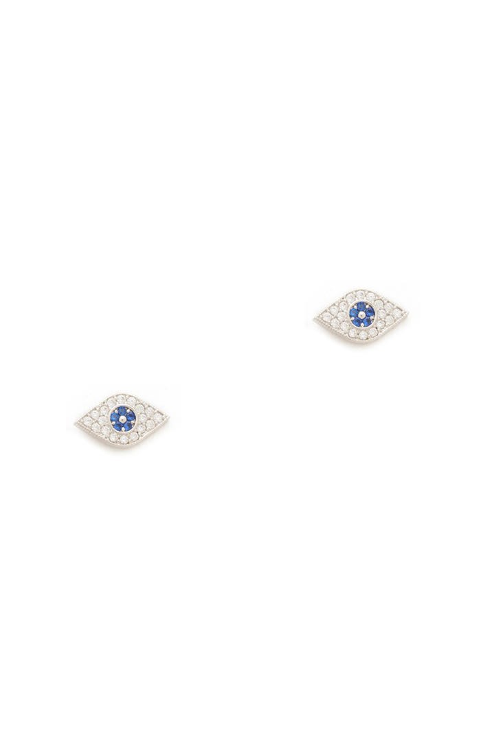 Tai Jewelry Evil Eye Stud Earrings, Silver