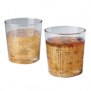 Gold Crosshatch Double Old Fashioned Glass