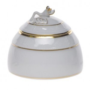 Herend Golden Edge Honey Pot with Rose