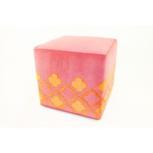 Eloise Ottoman, Pink with Tangerine Trim