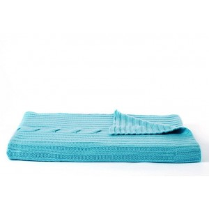 Rani Arabella Twisted Cable Throw, Turquoise