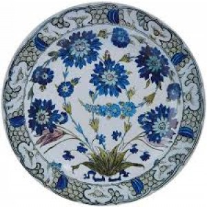 Blue/Green Floral Tin Plate