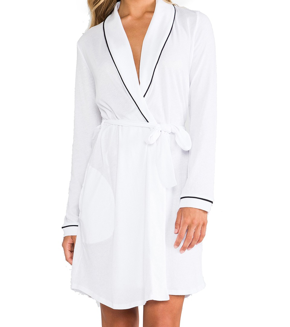 Only Hearts Short White/Navy Robe, Large