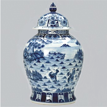 Rounded Blue and White Ginger Jar