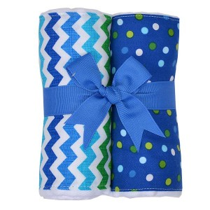 Blue Chevron Burp Pad Set