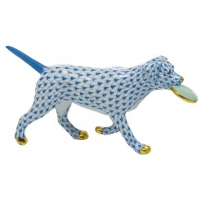 Herend Dog with Frisbee, Blue