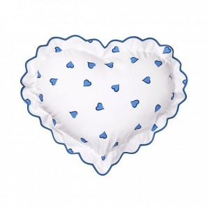 D'Porthault Heart-Shaped Pillow, Blue Heart