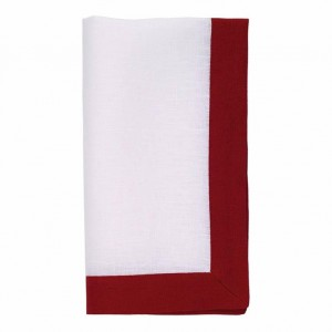 Bodrum Orta White/Red Napkins