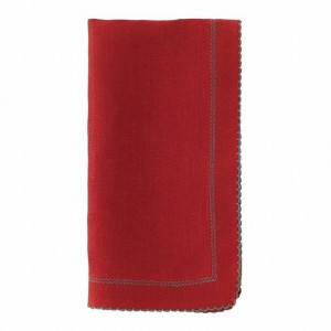 Bodrum Picot Red/Evergreen Napkins