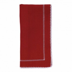 Bodrum Picot Red/White Napkins