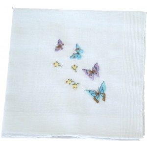 Embroidered Butterfly Handkerchief