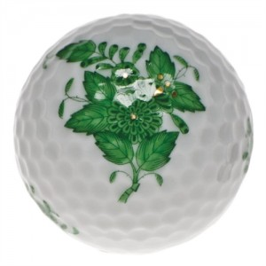 Herend Chinese Bouquet Golf Ball, Green