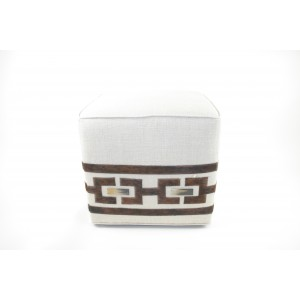 Natural Linen Ottoman with Cowhide and Horn