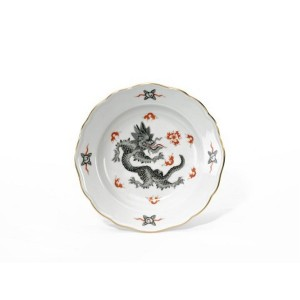 Meissen Ming Dragon Black Bread and Butter Plate