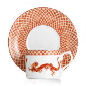 Mottahedeh Red Dragon Tea Cup & Saucer