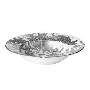 Royal Crown Derby Platinum Aves Rim Soup Bowl